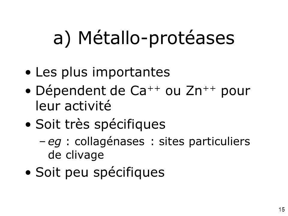 a) Métallo-protéases Les plus importantes