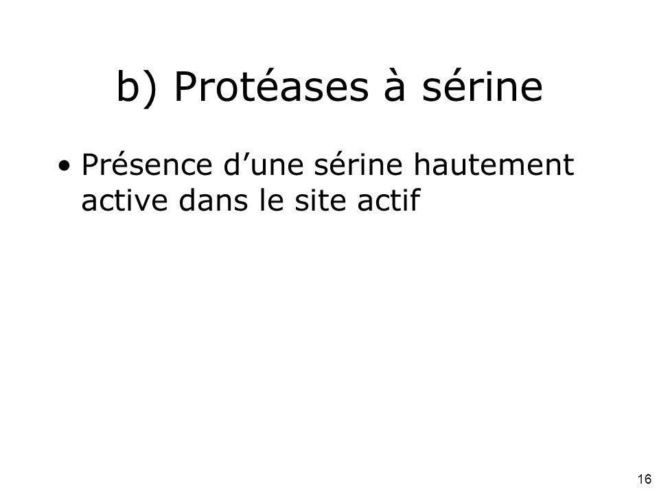 Mardi 12 février 2008 b) Protéases à sérine. Présence d'une sérine hautement active dans le site actif.