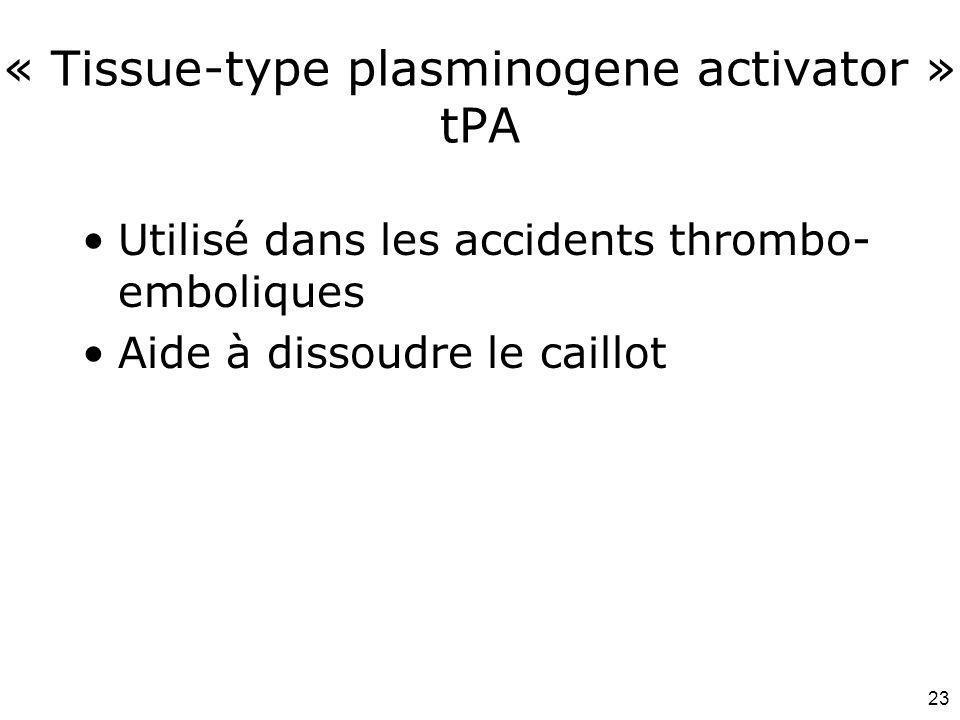 « Tissue-type plasminogene activator » tPA