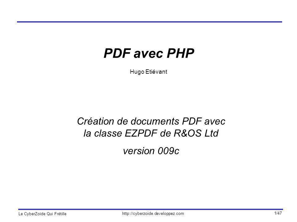 Création de documents PDF avec la classe EZPDF de R&OS Ltd