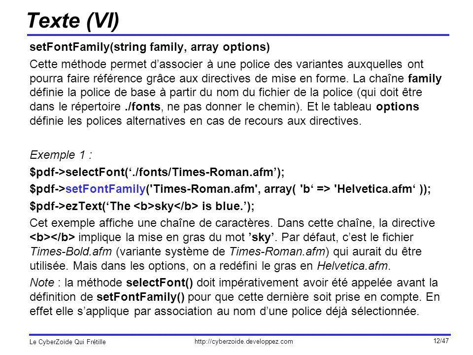 Texte (VI) setFontFamily(string family, array options)