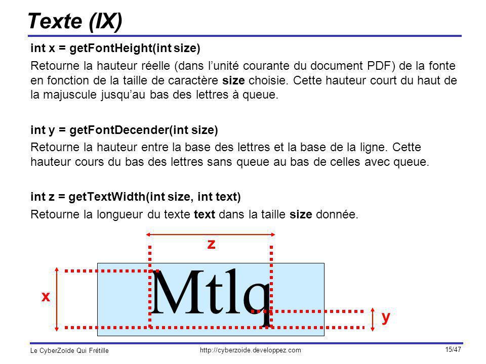 Mtlq Texte (IX) z x y int x = getFontHeight(int size)