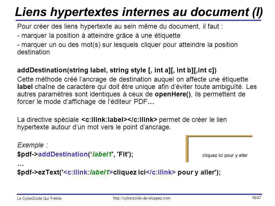 Liens hypertextes internes au document (I)