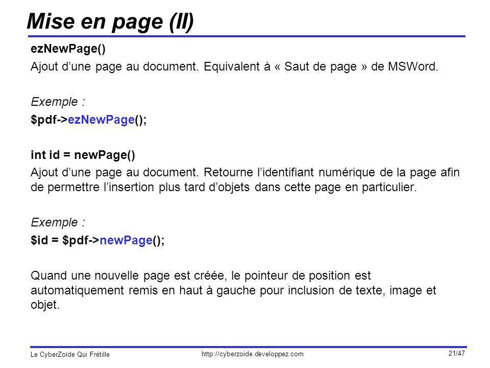 Mise en page (II) ezNewPage()