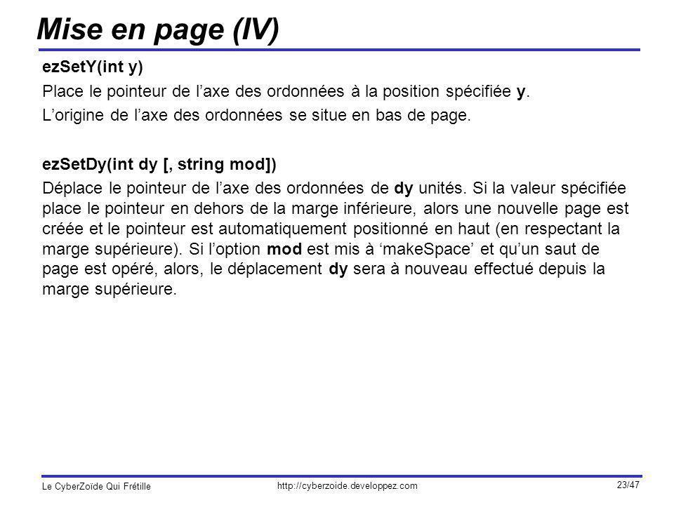 Mise en page (IV) ezSetY(int y)
