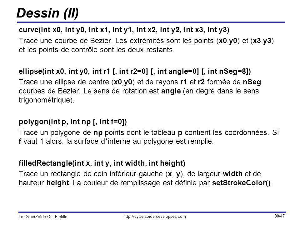 Dessin (II) curve(int x0, int y0, int x1, int y1, int x2, int y2, int x3, int y3)