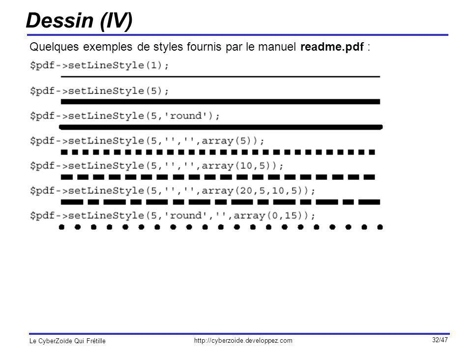 Dessin (IV) Quelques exemples de styles fournis par le manuel readme.pdf :