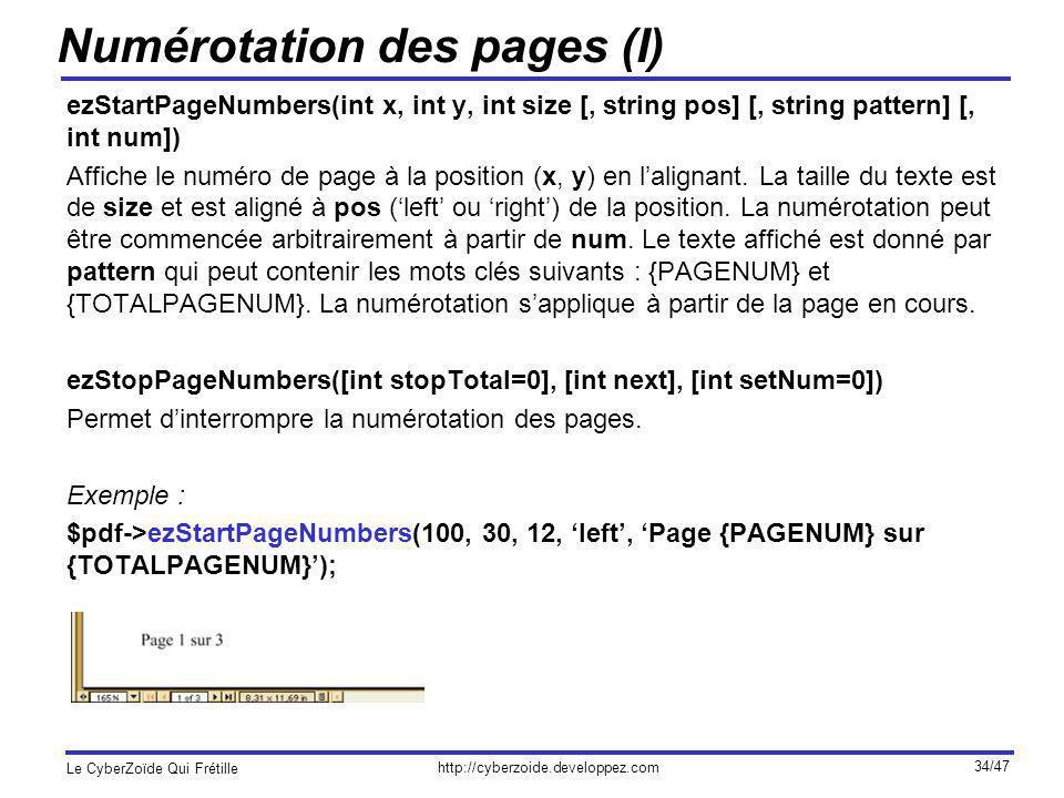 Numérotation des pages (I)