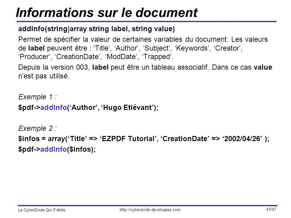 Informations sur le document
