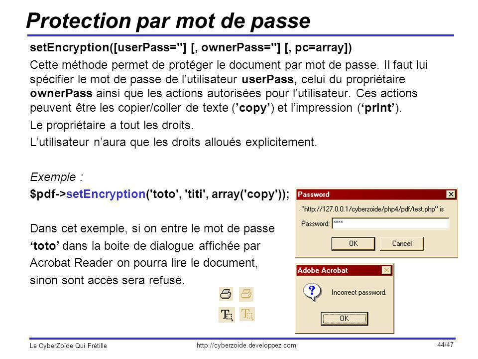 Protection par mot de passe