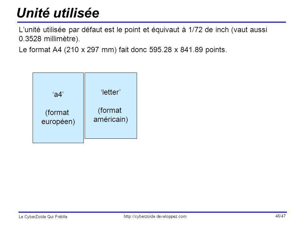 Unité utilisée L'unité utilisée par défaut est le point et équivaut à 1/72 de inch (vaut aussi 0.3528 millimètre).