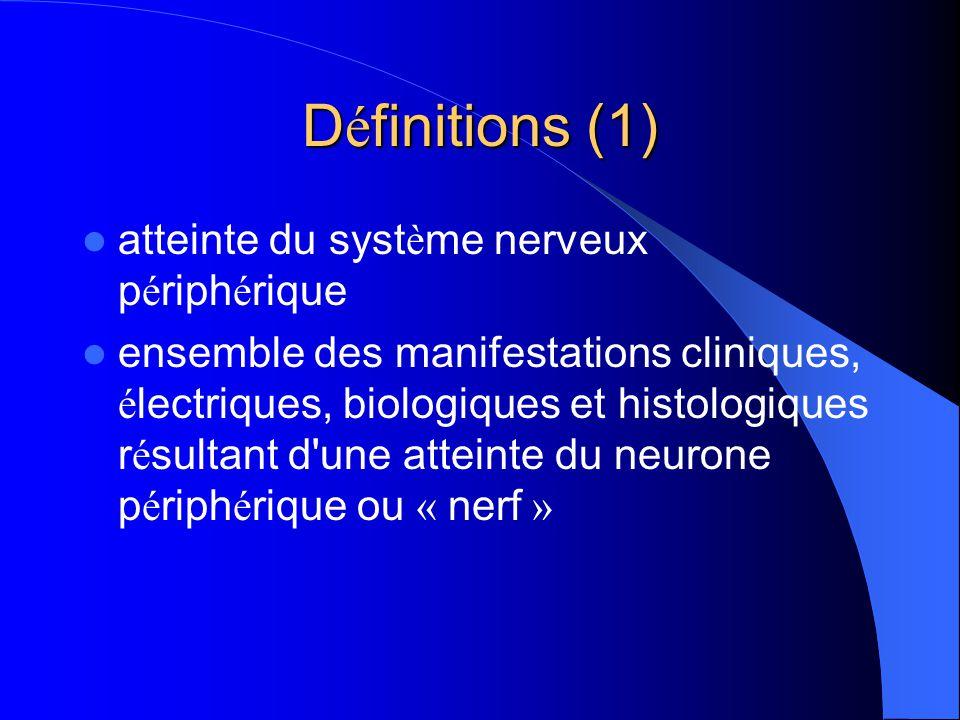 Définitions (1) atteinte du système nerveux périphérique