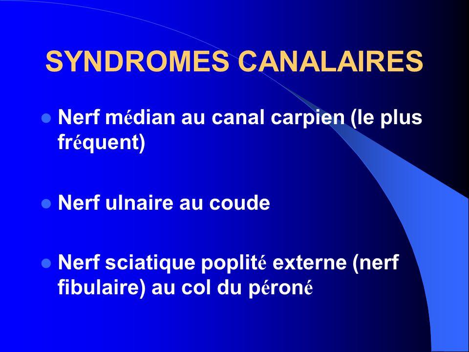 SYNDROMES CANALAIRES Nerf médian au canal carpien (le plus fréquent)