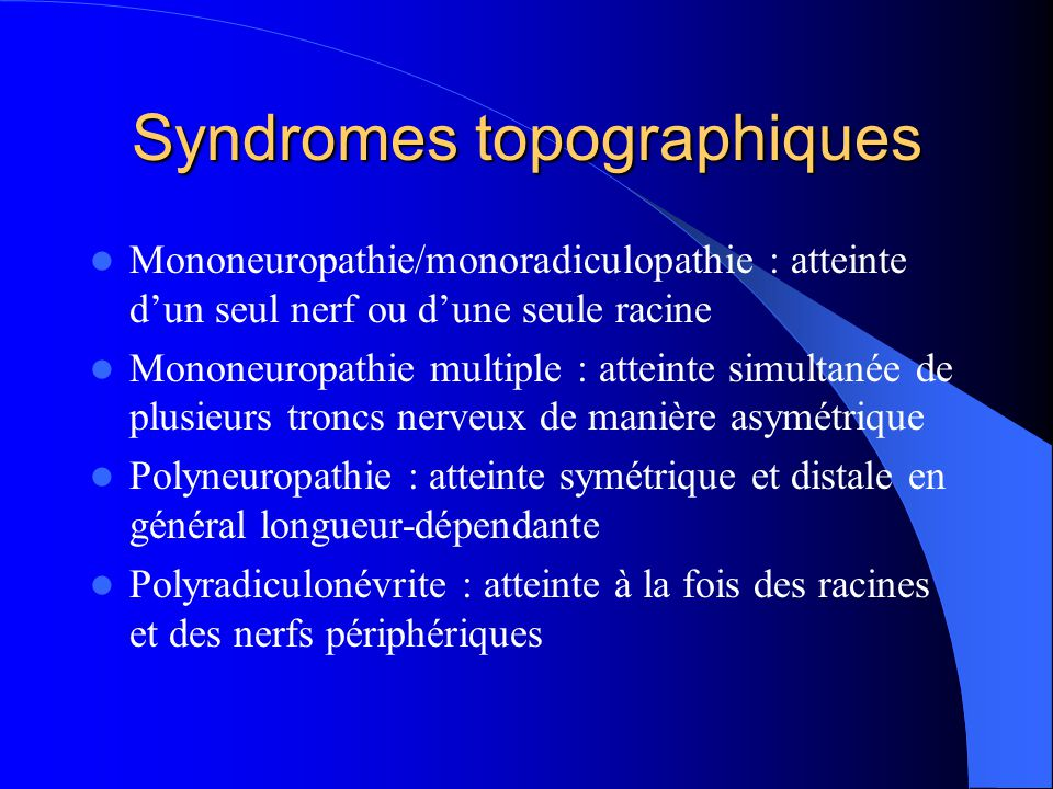Syndromes topographiques