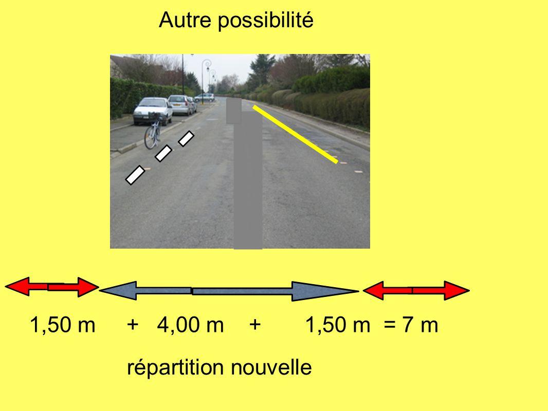 Autre possibilité 1,50 m + 4,00 m + 1,50 m = 7 m répartition nouvelle