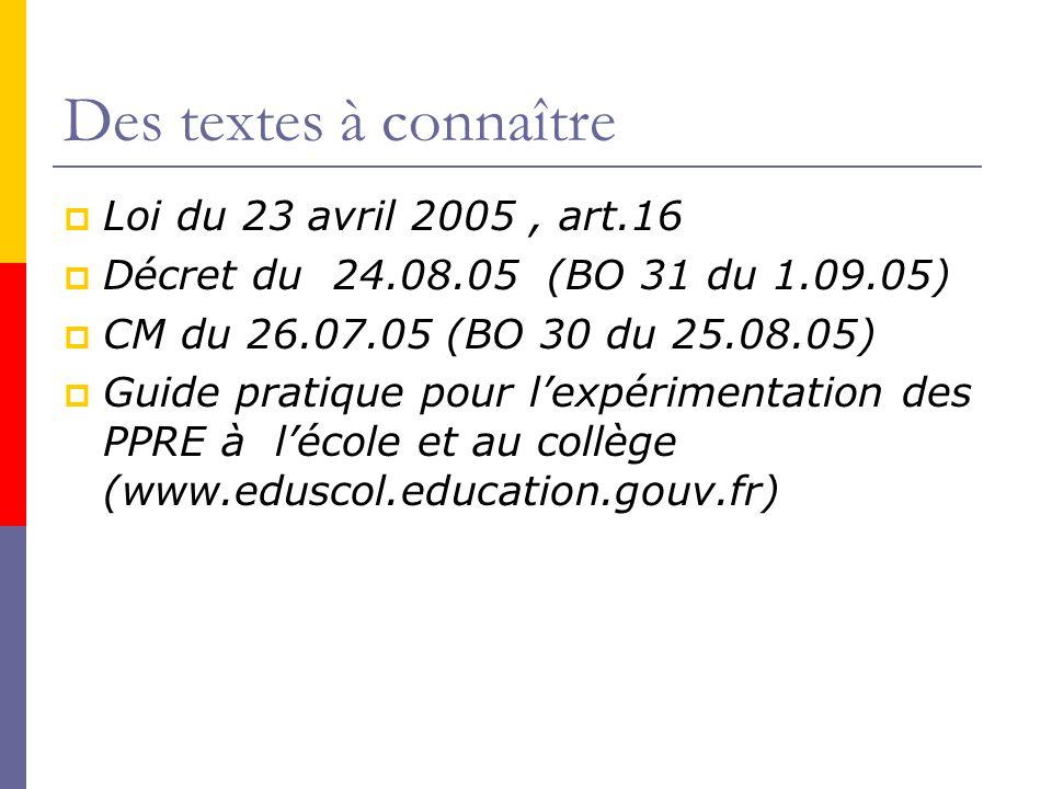 Des textes à connaître Loi du 23 avril 2005 , art.16