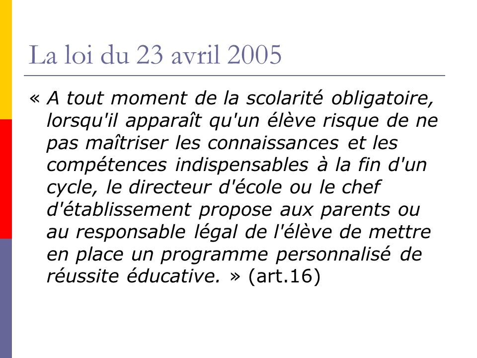 La loi du 23 avril 2005