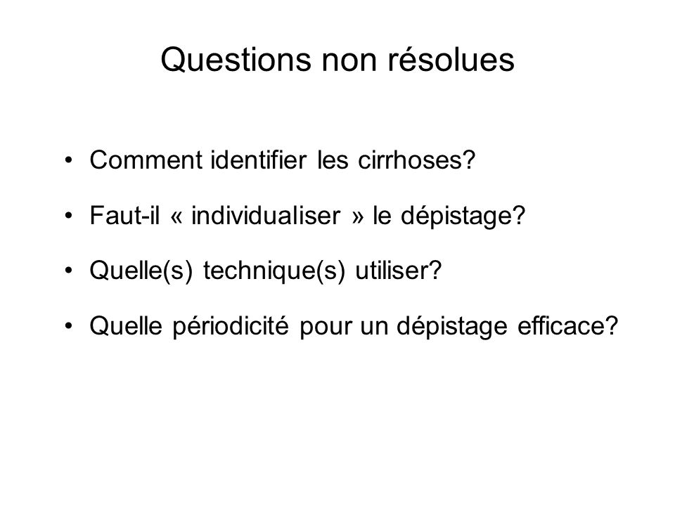 Questions non résolues
