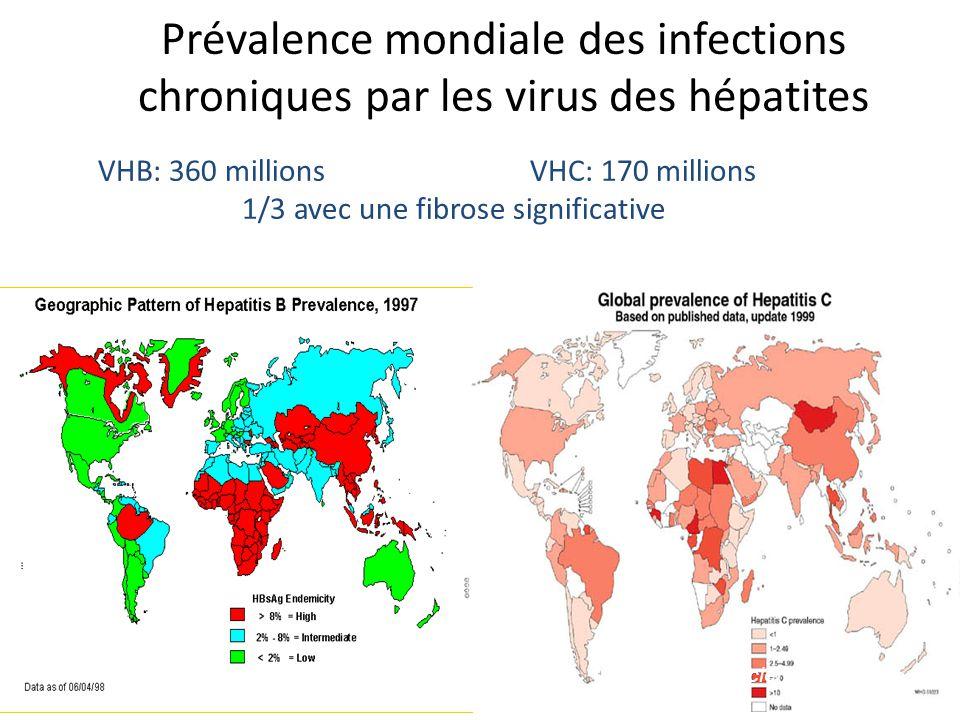 Prévalence mondiale des infections chroniques par les virus des hépatites
