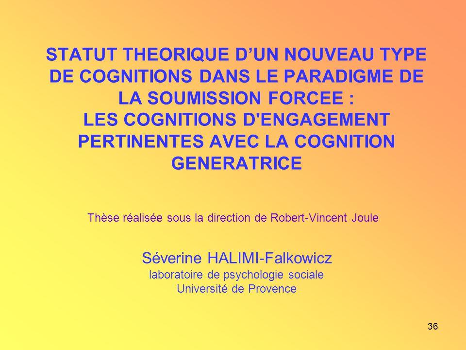 STATUT THEORIQUE D'UN NOUVEAU TYPE DE COGNITIONS DANS LE PARADIGME DE LA SOUMISSION FORCEE : LES COGNITIONS D ENGAGEMENT PERTINENTES AVEC LA COGNITION GENERATRICE Séverine HALIMI-Falkowicz laboratoire de psychologie sociale Université de Provence