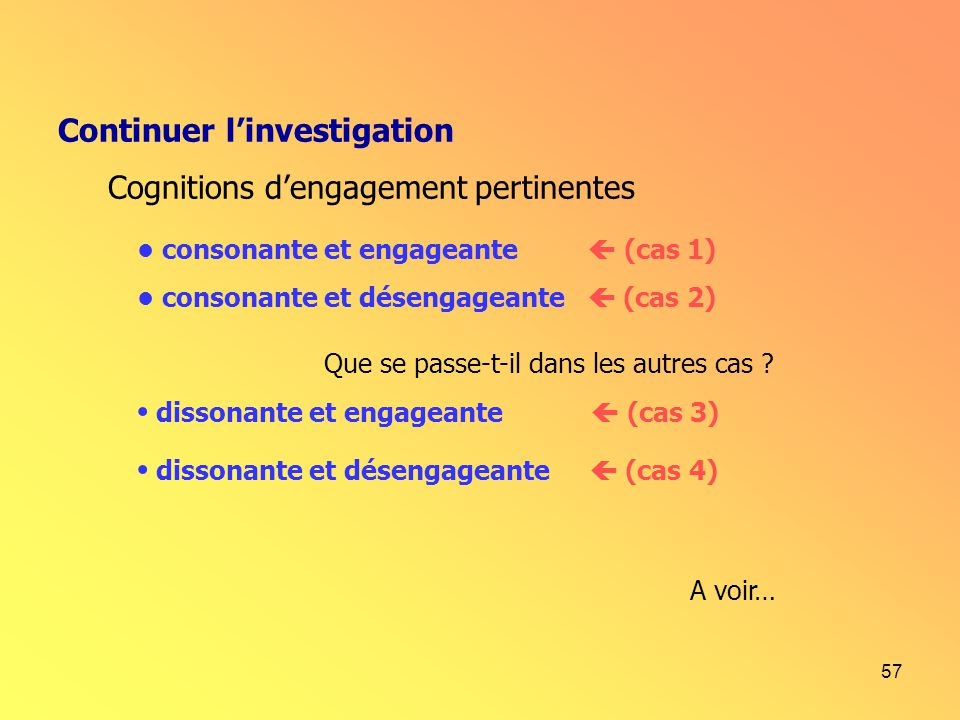 Continuer l'investigation Cognitions d'engagement pertinentes