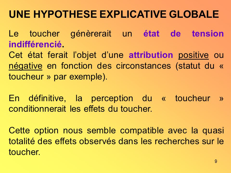 UNE HYPOTHESE EXPLICATIVE GLOBALE