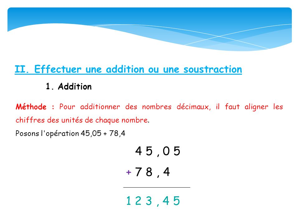 + 7 8 , 4 II. Effectuer une addition ou une soustraction 1. Addition