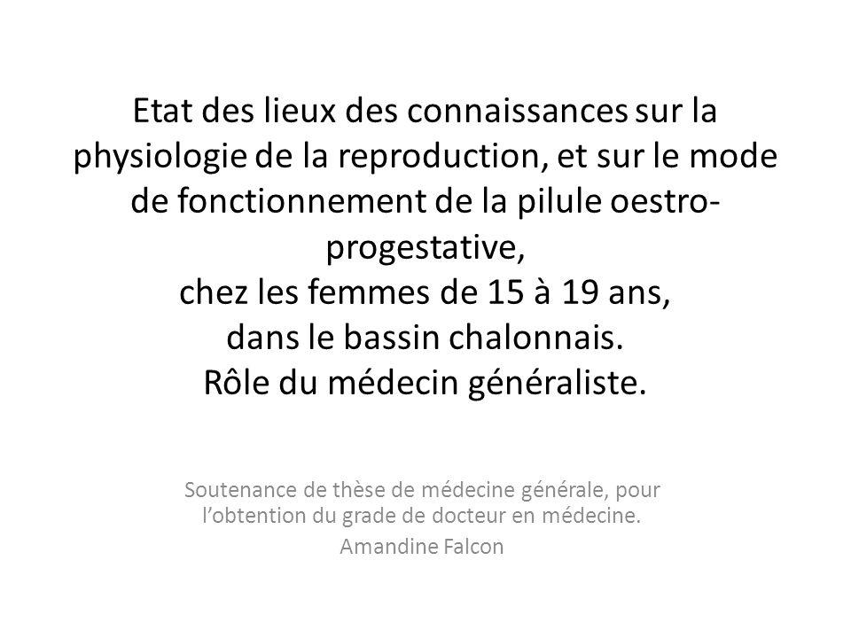 Etat des lieux des connaissances sur la physiologie de la reproduction, et sur le mode de fonctionnement de la pilule oestro-progestative, chez les femmes de 15 à 19 ans, dans le bassin chalonnais. Rôle du médecin généraliste.