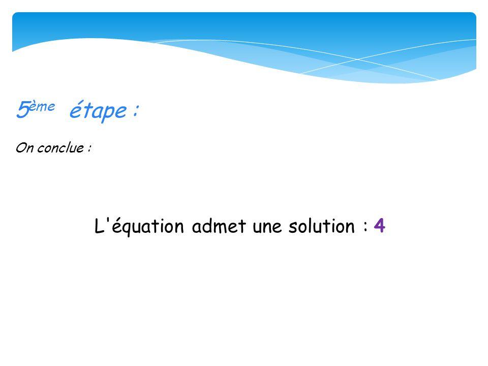 L équation admet une solution : 4