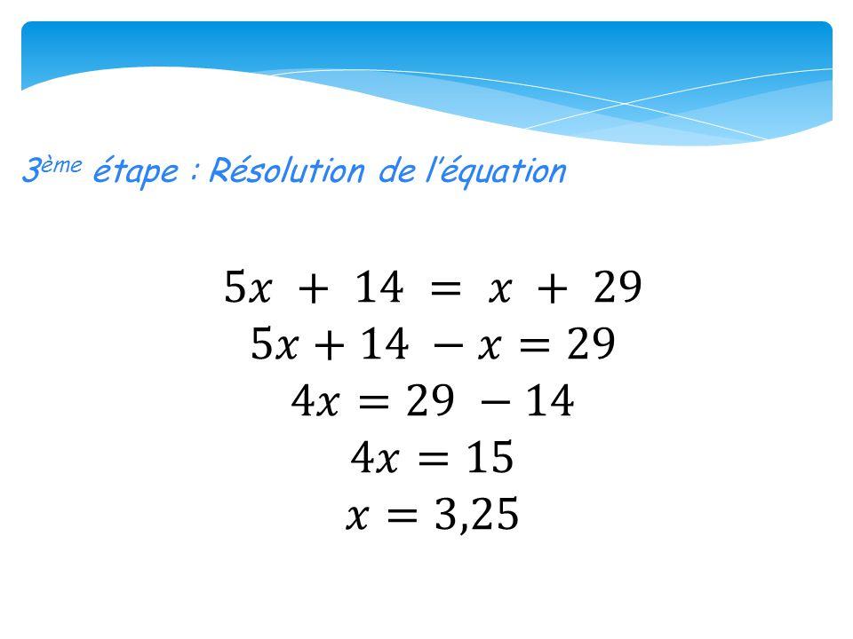 3ème étape : Résolution de l'équation