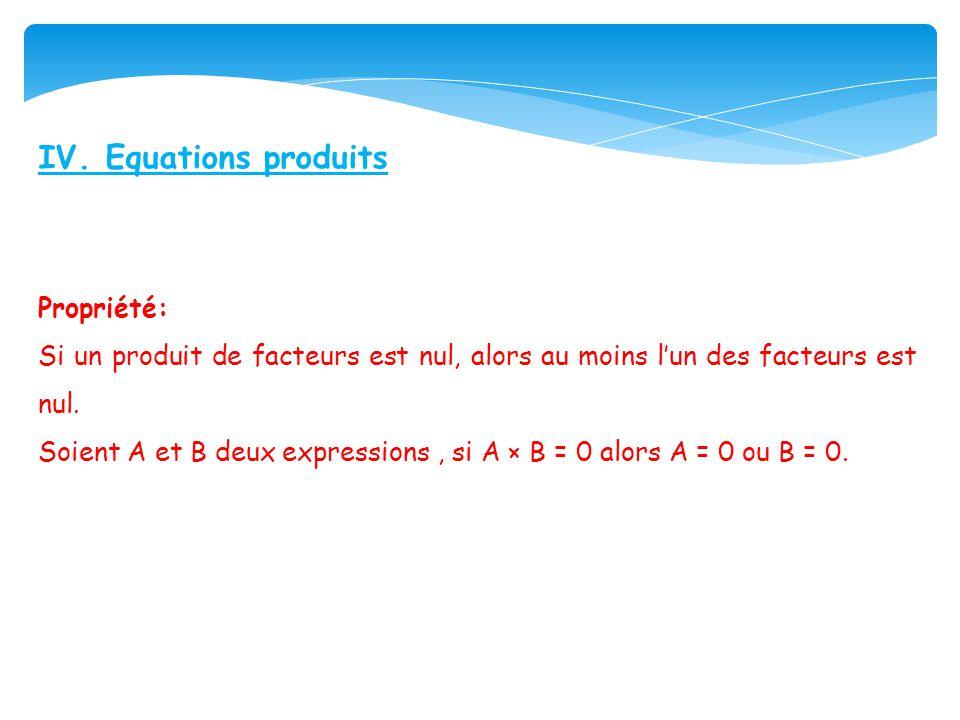 IV. Equations produits Propriété: