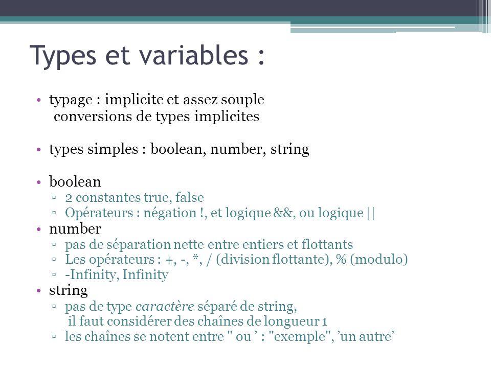 Types et variables : typage : implicite et assez souple