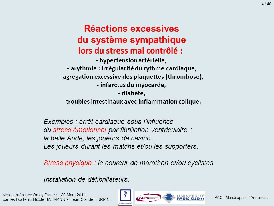 du système sympathique lors du stress mal contrôlé :