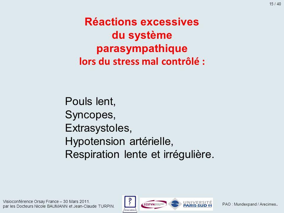 du système parasympathique lors du stress mal contrôlé :