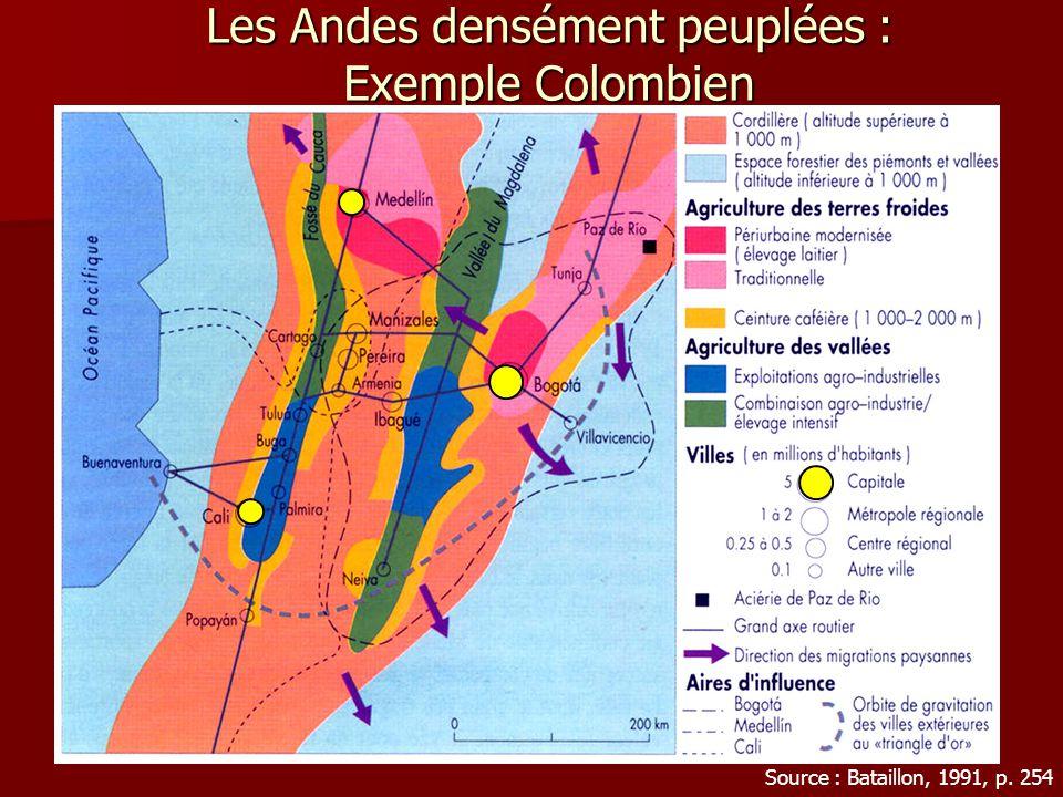 Les Andes densément peuplées : Exemple Colombien