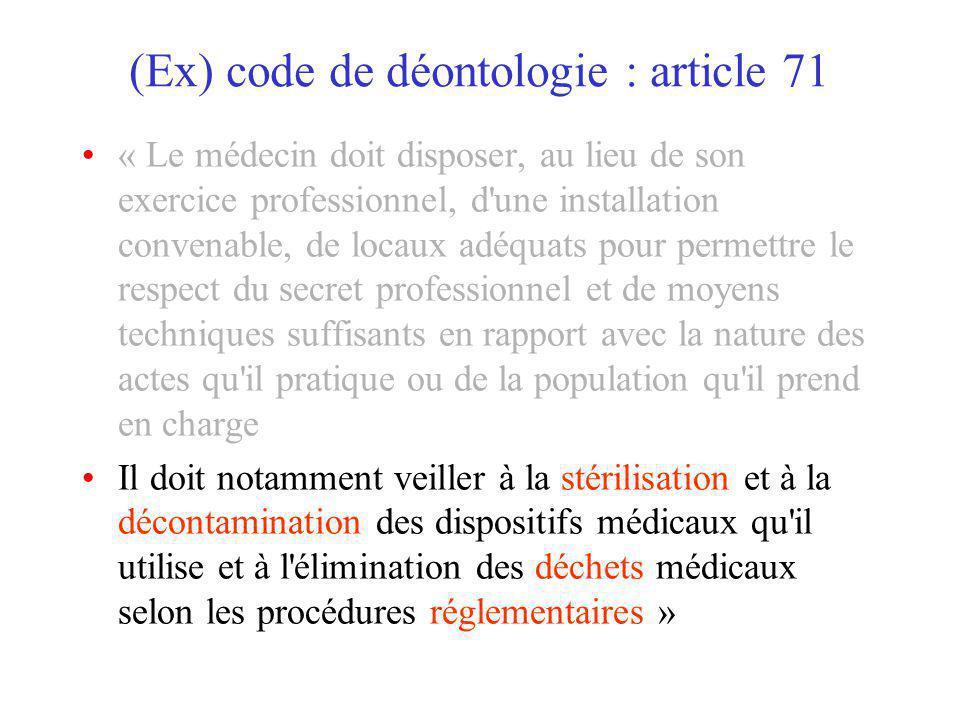 (Ex) code de déontologie : article 71