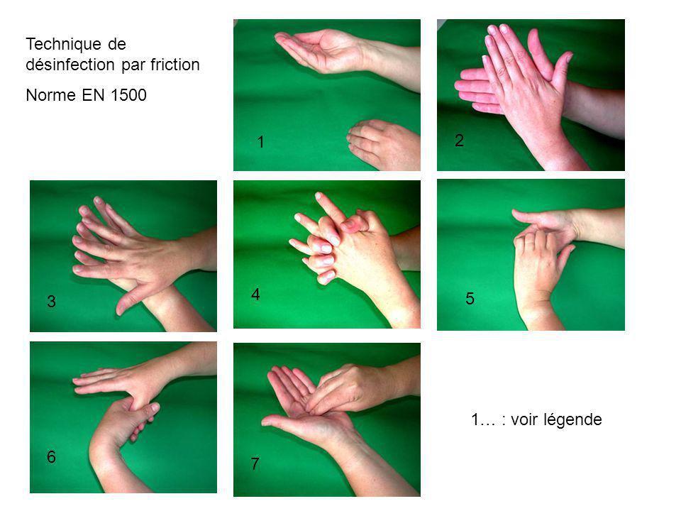 1 2 Technique de désinfection par friction Norme EN 1500 3 4 5 6 7 1… : voir légende