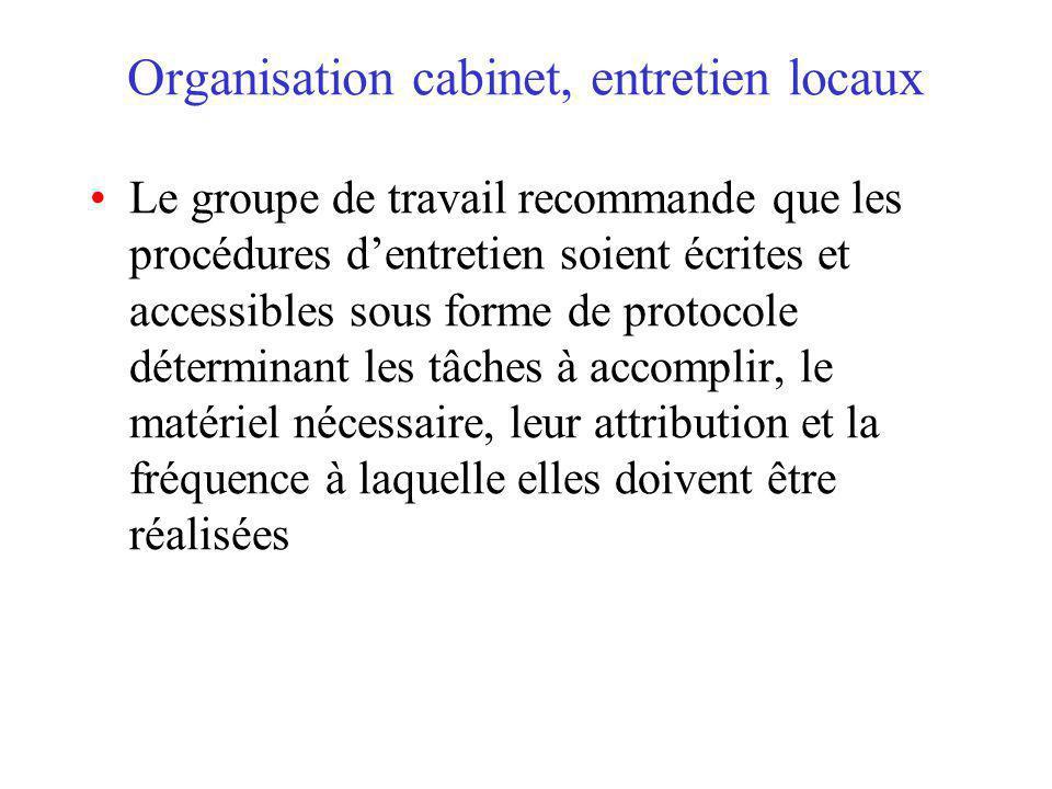 Organisation cabinet, entretien locaux