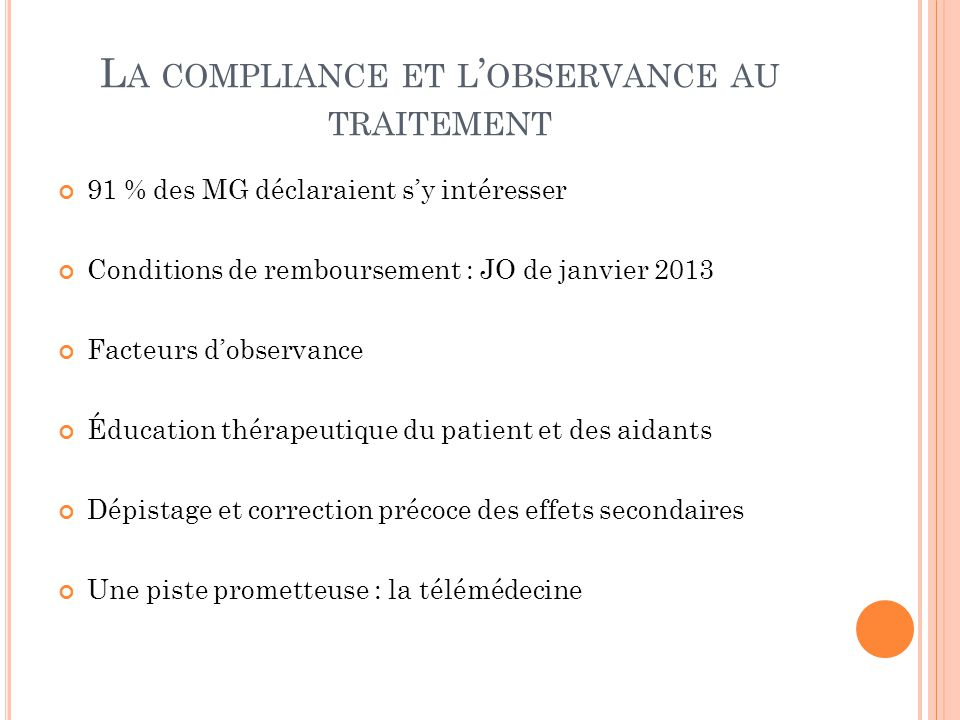 La compliance et l'observance au traitement