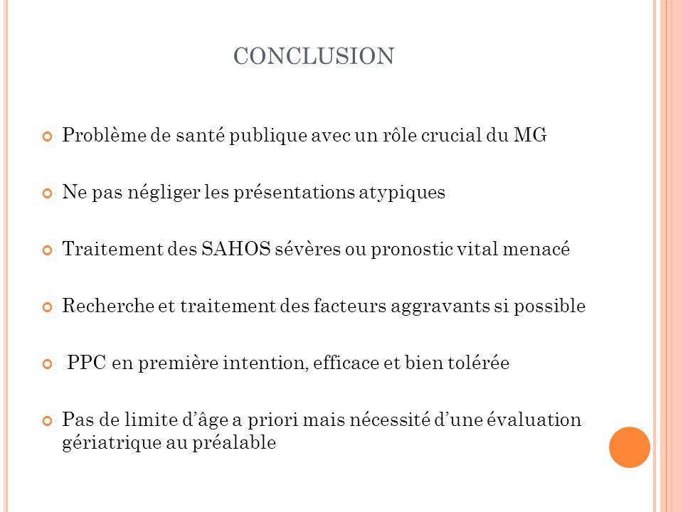 conclusion Problème de santé publique avec un rôle crucial du MG