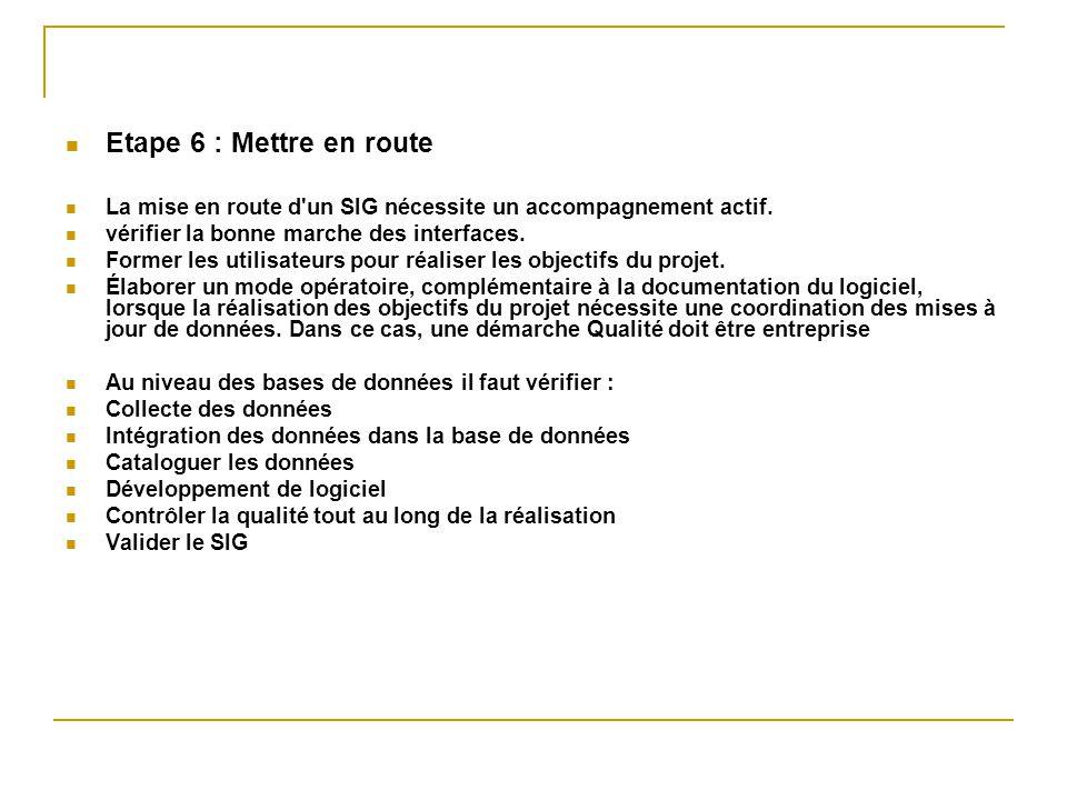 Etape 6 : Mettre en route La mise en route d un SIG nécessite un accompagnement actif. vérifier la bonne marche des interfaces.