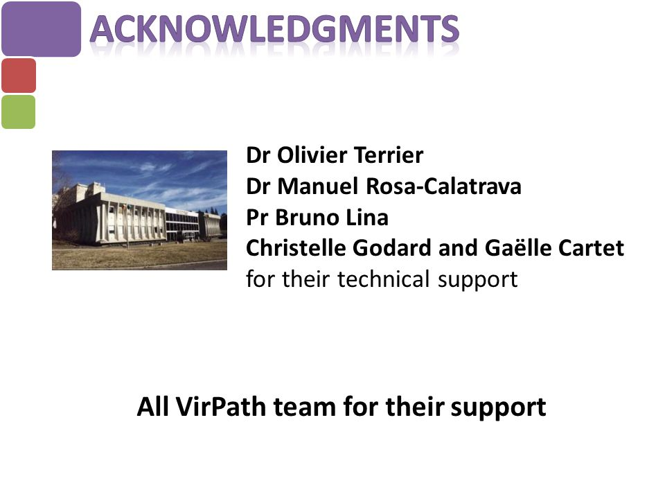 Acknowledgments All VirPath team for their support Dr Olivier Terrier