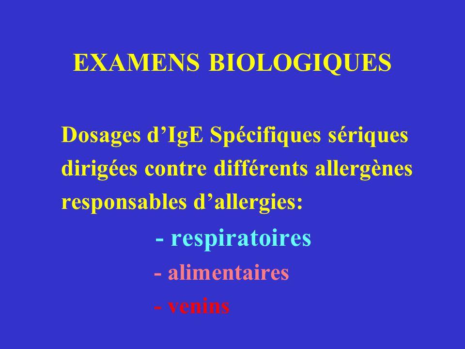 - respiratoires Dosages d'IgE Spécifiques sériques