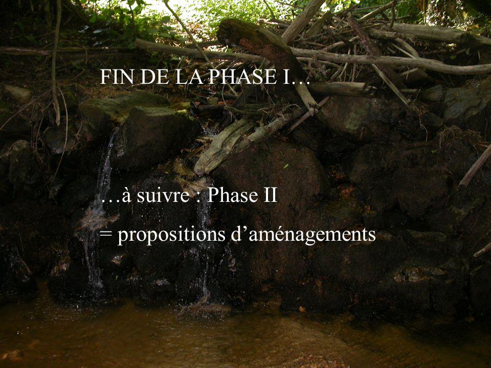 FIN DE LA PHASE I… …à suivre : Phase II = propositions d'aménagements