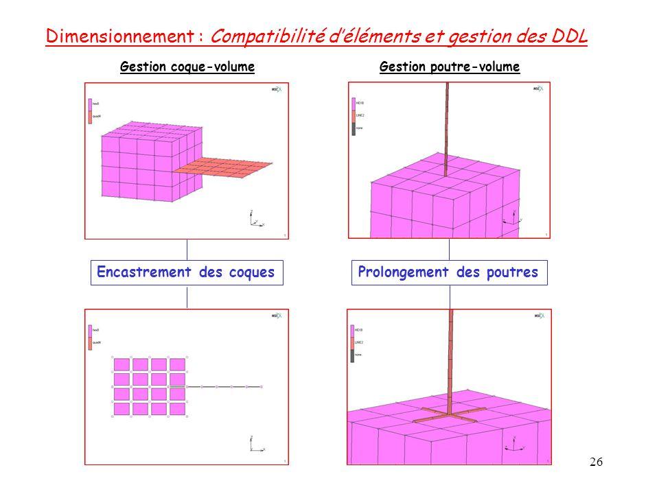 Dimensionnement : Compatibilité d'éléments et gestion des DDL