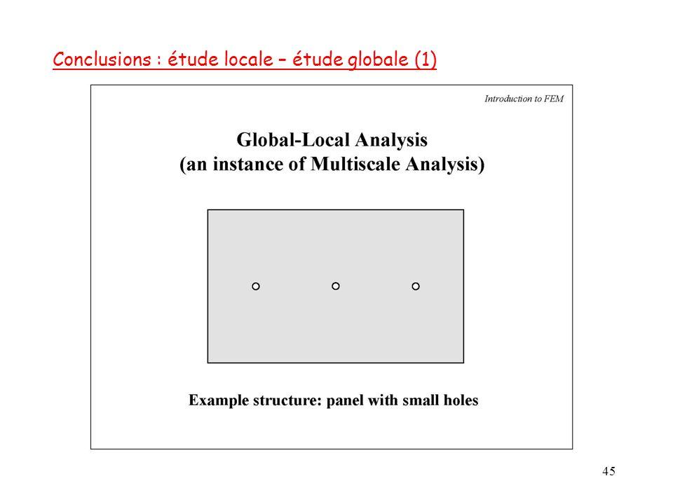 Conclusions : étude locale – étude globale (1)