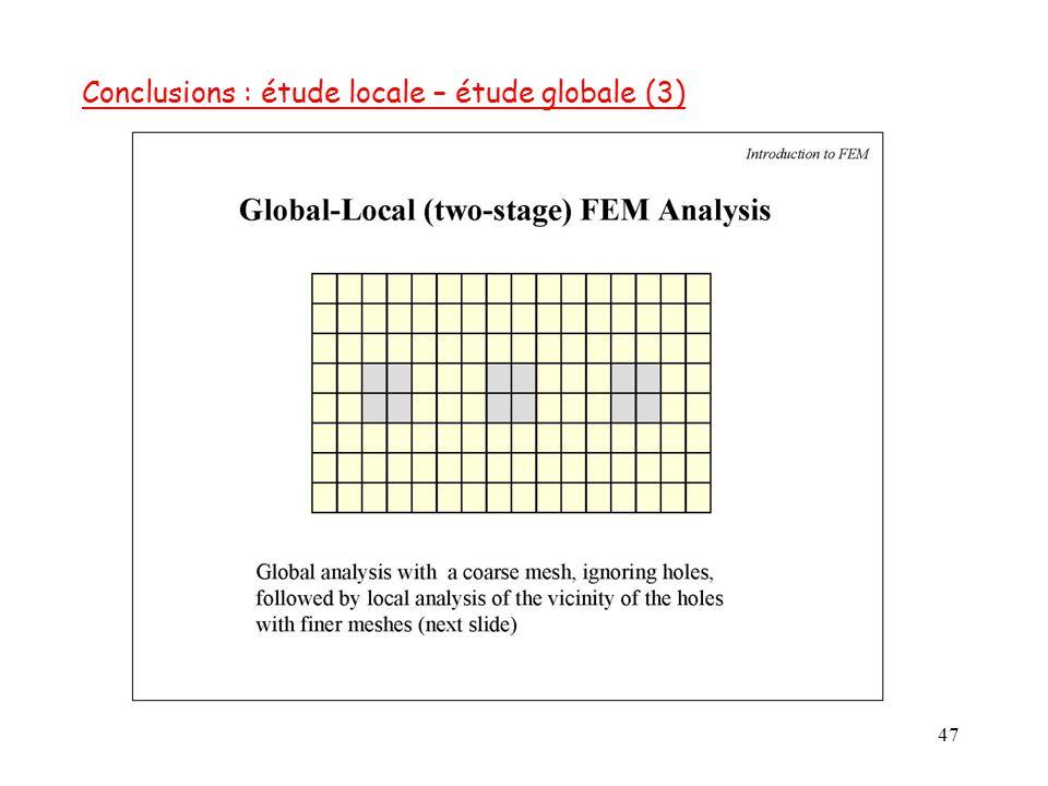 Conclusions : étude locale – étude globale (3)