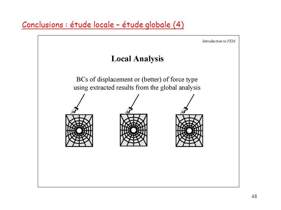 Conclusions : étude locale – étude globale (4)