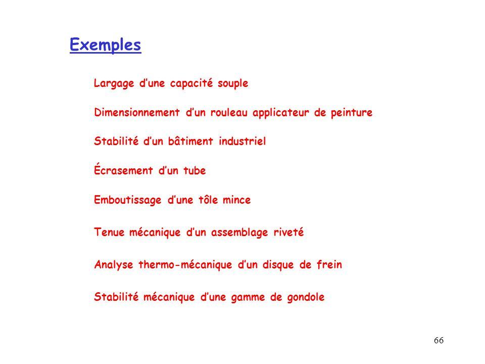 Exemples Largage d'une capacité souple