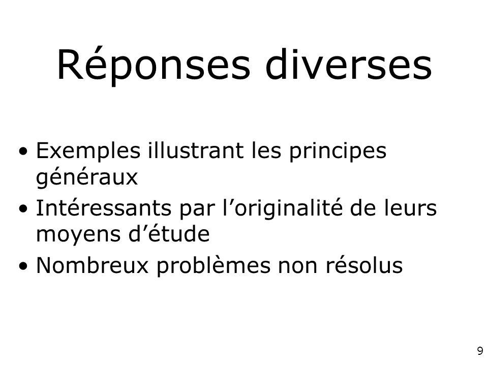 Réponses diverses Exemples illustrant les principes généraux